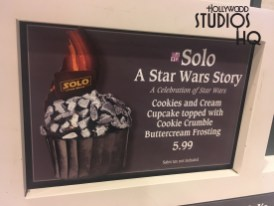 Guests can now celebrate the upcoming motion picture release, Solo: A Star Wars Story, with a delicious cookies and cream cupcake. This brand new scrumptious dessert topped with cookie crumble buttercream frosting is awaiting any guest's sweet tooth exclusively at the Fairfax Fare quick service counter for $5.99 each. Disney's Hollywood Studios. Photo by John Capos