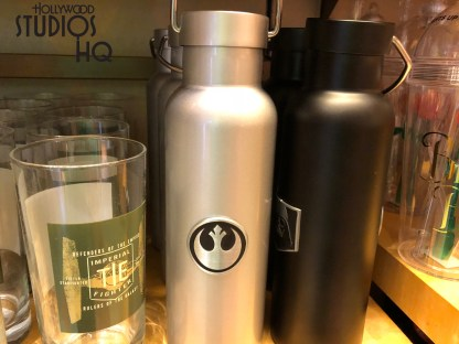 Over at Mickey's of Hollywood there are two new glasses that are star wars themed. One supports the x wing squadron of the rebels and the other is supporting the tie fighters of the empire. If water bottles are more your taste, there are once again two new water bottles one for each faction of the war. Disney's Hollywood Studios. Photo by John Capos
