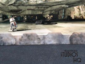 Workers recently positioned seven man made boulders at the end of Grand Avenue in an attempt to prevent guests from touching the giant Star Wars: Galaxy Edge mural. This giant pictorial of the Millennium Falcon surrounded by the Planet Battu landscape is currently a special background for fan photographs. The photo op will eventually be removed when this location becomes the main entrance to the new land in late Fall 2019. Disney's Hollywood Studios. Photo by John Capos