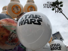 BB8 and Millennium Falcon design balloons are now bobbing on Park thoroughfares. These new Star Wars themed balloons offer a choice of either a detailed BB8 design or an orange and purple colored design that features both the Millennium Falcon and TIE Fighter craft on the same balloon. These new helium choices will delight fans of all ages. Disney's Hollywood Studios. Photo by John Capos