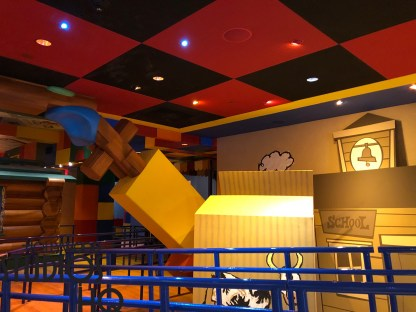 Guests entering the new Toy Story Land on June 30 will be initially greeted by a Disney Vacation Club information center. Photos below confirm that DVC will be housed in the first structure at the new attraction's main entrance. Meanwhile, fans are delighted that all three tracks of the Toy Story Mania attraction have reopened. Guests entering the cue will notice brand new enhanced lightning in addition to giant stacks of Andy's checker game pieces. Decor and props throughout the cue have been cleaned and refreshed. Disney's Hollywood Studios. Photo by John Capos