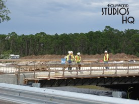 Construction crews continue progress on the new roadway that will serve as the future primary vehicle entrance to the Park. Fabricating of material on a roadway bridge near the existing parking can be seen in the photos below. Work on the new ticket booth structure previous reported continues. Work continues on the over pass bridge structure near the intersection of Victory Lane and Osceola Parkway. This roadway will guide vehicles to the future main entrance. Disney's Hollywood Studios. Photo by John Capos