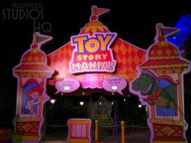 With the former facade removed and a brand new entrance, Toy Story Mania attraction has riders begin their cue entrance with a life size placard of Woody's friends aboard a Mania gallery vehicle. A fresh new look to the cue includes a giant Peter Pan View Master slide and the signature Mr Potato Head boardwalk barker . Guest riding the original tracks will find themselves exiting back into the Land through the original Fast Pass cue hallways. Toy Story Land. Disney's Hollywood Studios. Photo by John Capos