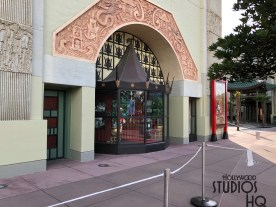 The side structures of the Park's Chinese Theatre are undergoing exterior painting. Rope barriers direct guests away from the current work underway. This entire landmark structure will eventually house the Mickey and Minnie's Runaway Railway attraction set to open in 2019. Disney's Hollywood Studios. Photo by John Capos