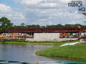 Crews continue to make progress on and around the Park's guest loading and unloading station as captured in the photos below. This week's focus has been on a platform extension from the main covered structure, as well as a lengthy steel extension coming out of the station. Stay in touch often with Hollywood Studios HQ for the very latest construction news as well as general Park updates. Disney's Hollywood Studios. Photo by John Capos