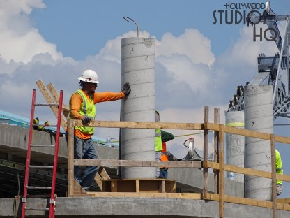 Work continues on the Park's future Skyliner arrival and departure station. Crews were busy with a cement pour adding concrete to the outdoor deck structure. View the new photos below as Hollywood Studios HQ continues ongoing coverage of this construction project. Disney's Hollywood Studios. Photo by John Capos