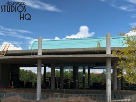 Additional concrete structure work for guest entrance and cueing at the Hollywood Studios Skyliner station is evident in the brand new photos below. Construction continues on and immediately around this location that will accommodate arriving and departing Disney character themed gondola vehicles. Once operational, guests will be able to travel overhead from the Park to locations including Disney's Caribbean Beach Resort and EPCOT. Disney's Hollywood Studios. Photo by John Capos