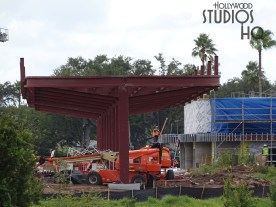 Crews have been busy with ongoing site work at the new Disney Resort bus arrival and departure area. Grading of bus traffic lanes is visible in the photos below, along with the erection of a new steel passenger shelter. Additional work to the existing main passenger waiting structure continues. View Hollywood Studios HQ weekly for the latest news and photos of this construction work. Disney's Hollywood Studios. Photo by John Capos