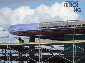 Construction workers continue progress on the park's guest loading and unloading station. Sheeting is being installed as surrounding site work is underway. Check in weekly here at Hollywood Studios HQ so as not to miss the latest updates on this future guest transportation system. Disney's Hollywood Studios. Photo by John Capos