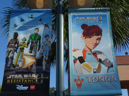 Guests entering the Animation Courtyard these days are surrounded by colorful banners and a giant billboard featuring their favorite Star Wars Resistance characters. Detailed images of Kaz Xiono, Torra Doza, Tam Ryvora , and even BB-8 from this popular animation series on The Disney Channel are visible. Stay tuned here at Hollywood Studios HQ for updates. Disney's Hollywood Studios. Photo by John Capos