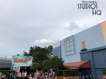 The transformation work of the former Disney Junior show into the new sing and dance along Disney Junior Dance party is visible on the building's exterior. The prior studio building number and large promotional art have been removed. Likewise, much of the front entrance overhead catwalk structure is gone. Families will be able to enjoy popular Characters along with a DJ and party host inside this location later this fall 2018. Disney's Hollywood Studios. Photo by John Capos