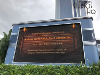 The large electronic schedule screen outside the Hyperion Theater comes alive with colorful graphic animation. Various characters from the park's attractions now highlight the time schedule information for guests. Photos below illustrate various attraction schedule announcements with the new magical touch. Disney's Hollywood Studios. Photo by John Capos