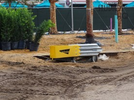 Construction crews are busy with the installation of additional landscaping foliage around the perimeter of the new Disney resort bus transportation center. Site work also continues at this location along with structural activity. New guard rail installation has begun as visible in the photos below. Stay tuned here at Hollywood Studios HQ for the latest Main Entrance construction updates. Disney's Hollywood Studios. Photo by John Capos