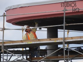 Contractor crews have been active since the last update. Additional site work has progressed including surfacing of guest walkways that are lined with new palm trees. Roofing and ceiling finishing activity is pictured below along with more outer surfaces being finished in the classic Hollywood Studios color scheme. More Skyliner updates are coming soon here at Hollywood Studios HQ. Disney's Hollywood Studios. Photo by John Capos