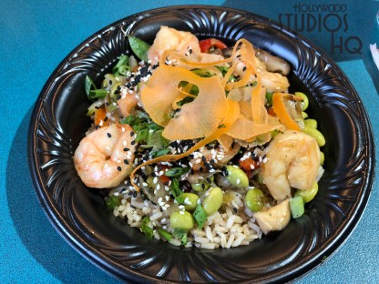ABC Commissary now offers diners a delicious shrimp teriyaki dinner selection on their menu. Disney's Hollywood Studios. Photo by John Capos