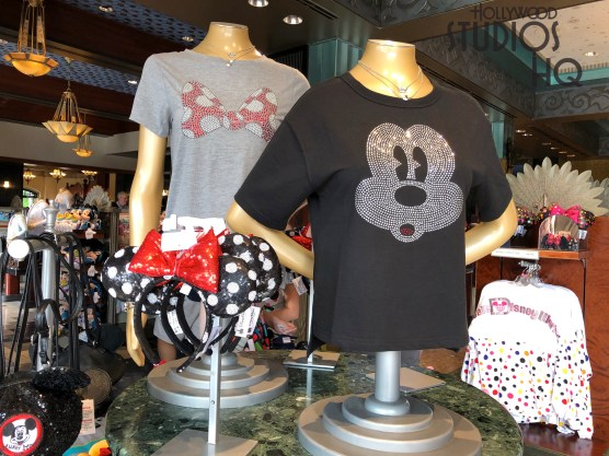 Shopper can select from Mickey Mouse Club accessories on display at Carthay Circle located on Sunset Blvd. Selections include a colorful themed purse, wallet, and waist pack. Mouse ears and women's tee shirts to compliment these accessories are also available. Stay with Hollywood Studios HQ for the best source of merchandise news and photos. Disney's Hollywood Studios. Photo by John Capos