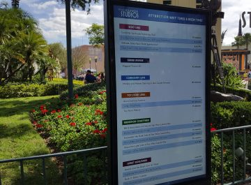 Guests can now view Park attraction wait times and show times from a new digital board located near Center Stage. A Guest Relations Team podium nearby is staffed by cast members ready to assist visitors. Hollywood Studios HQ provides the latest Park news and updates. Disney's Hollywood Studios. Photo by John Capos