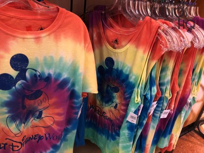 Shoppers have a new selection of adult tops at Mickey's of Hollywood. Colorful Mickey themed tie dye shirts are available for men and women at this location. Guests can also purchase the first tee shirt on display commemorating the Park's 30th anniversary celebration. All merchandise news is always found at Hollywood Studios HQ. Disney's Hollywood Studios. Photo by John Capos