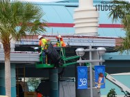 Crews continue work on the Park's Skyliner arrival and departure station. Railing is being installed on guest walkway ramps along with continuation of structure exterior work. Workers are visible at night testing gondolas in motion. Hollywood Studios HQ remains the best source for all Skyliner updates. Disney's Hollywood Studios. Photo by John Capos