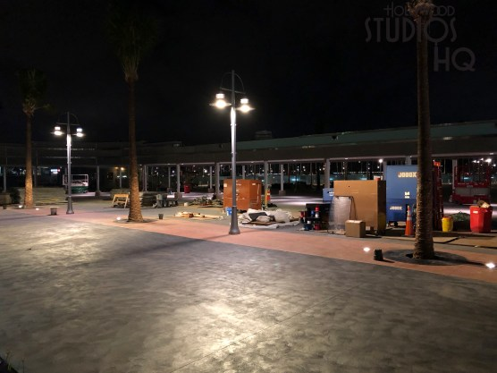 Crews are completing installation of building flashing in the new main entrance area while directional signs are in place. New tram and pedestrian area lighting is operational. Hollywood Studios HQ provides the latest construction updates. Disney's Hollywood Studios. Photo by John Capos