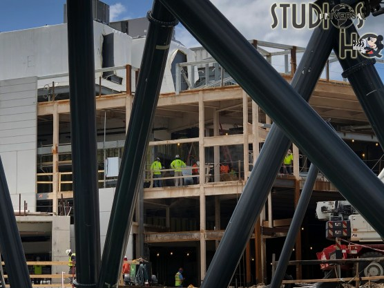 Construction work progress on the new Jurassic Park roller coaster project. One building enclosure has been completed in additional to ongoing steel fabrication and site work. Stay connected to Hollywood Studios HQ for weekly photo updates. Universal Orlando. Photo by John Capos