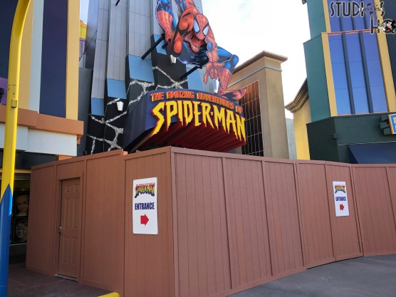 While workers conduct renovations to the front entrance, riders of the Amazing Adventures of Spider-Man attraction have an alternative entrance approach. Guests must precede through Marvel Super Hero Island and enter through the large blue Daily Bugle loading dock doors. Stay connected here at Hollywood Studios HQ for further renovation updates. Universal Orlando. Photo by John Capos