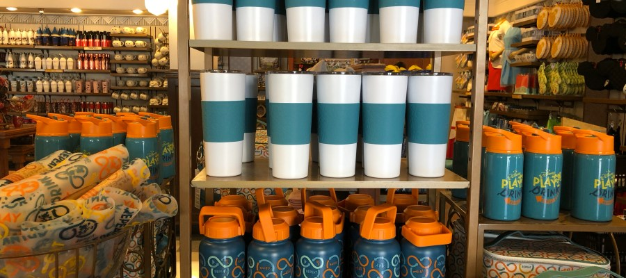 """Shoppers will find a fresh selection of summer themed outdoor beverage and snack container merchandise at Celebrity 5 & 10. Located on Hollywood Blvd, store shelves have colorful Disney """"Play Drink Repeat """" themed water bottles, place mats, and additional items in the photos below. Make Hollywood Studios HQ your number one source for all Park updates! Disney's Hollywood Studios. Photo by John Capos"""