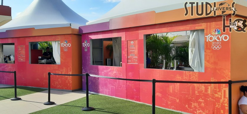 Universal Orlando provides guests plenty of opportunity to enjoy the Tokyo Summer Olympics from their Orlando theme park. Olympic competition is broadcast on two giant media screens in the open concert area next to the Despicable Me Minion Mayhem attraction. Seating with tables is spread across the large open air viewing area with four nearby Olympic themed food booths offering tasty Tokyo-inspired treats. Visitors can continue their Olympic passion over at Universal City Walk where the NBC Sports Grill & Brew broadcasts the competition while Voodoo Doughnuts offers Olympic Ring Donuts for purchase. Stay connected to Hollywood Studios HQ for all the latest Park news! Universal Orlando. Photo by John Capos