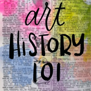 "image of a blurred dictionary page with the text ""art history 101"" in script on it"
