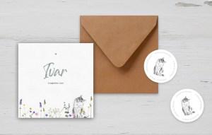 Geboortekaartje-poes-bloemen