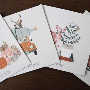 Kerstkaarten-set-dieren-illustraties