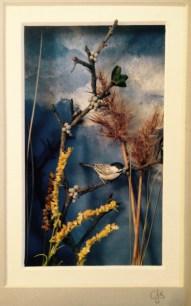 Carol Schmedinghoff, Black Capped Chickadee, hand carved bird set in seaside scene