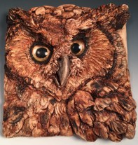 "Christy Sherman, Great Hornedowl, Polymer, reverse painted glass, acrylics. 4"" square"