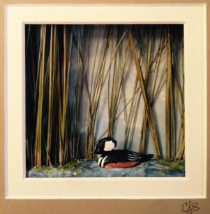 Carol Schmedinghoff, Hooded Meraner, hand carved bird set in pond habitat