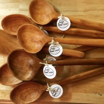 Mike Lynch, An assortment of hand carved cherry spoons with made in Rhode Island tags.
