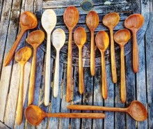 Mike Lynch, A larger assortment of hand carved cherry and maple spoons.