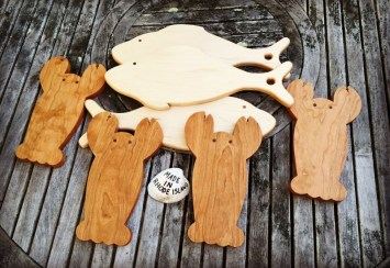 Mike Lynch, Cherry lobster and maple fish shaped cutting boards.