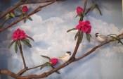 Carol Schmedinghoff, Chickadees on Rhododendron
