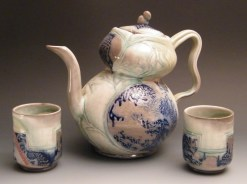 Jay Lacouture, Teapot with cups, Soda Vapor Glazed Porcelain