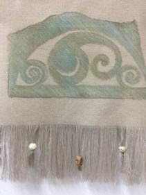 Laura Travis, New Moon, Rubbing of original limestone carving in art crayon with soapstone beads.