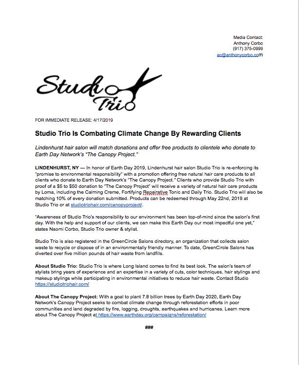 Studio Trio Earth Day Press Release