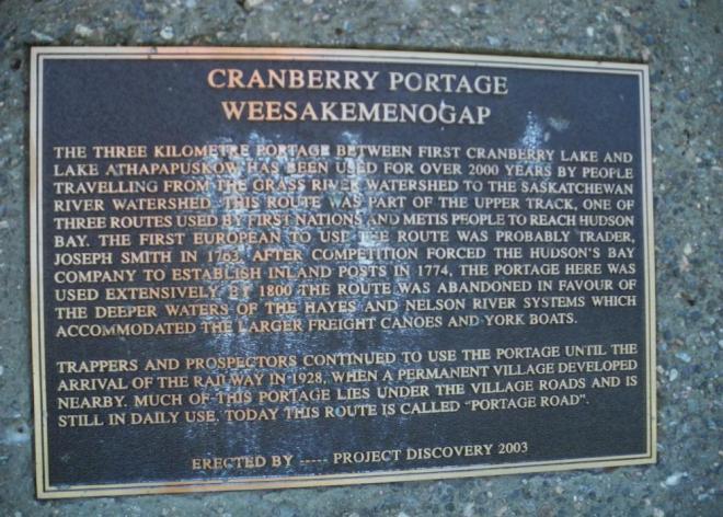 Cranberry Portage sign