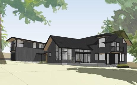 Exterior 3D renderings of new modern custom home in Kirkland, WA