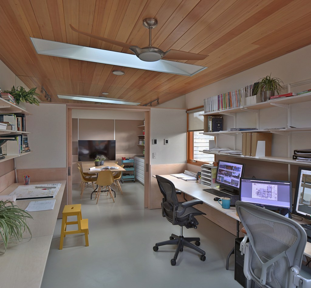 Interior view of Studio Zerbey modern home office in Seattle, WA