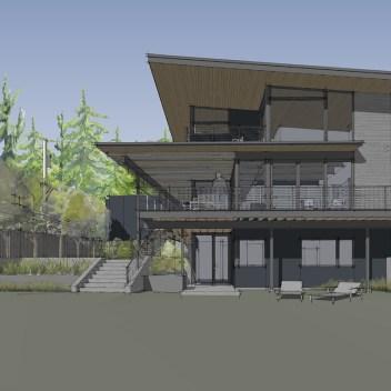 modern lakefront custom home on Lake Washington in Seattle