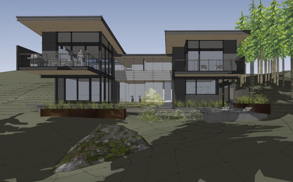 modern Edmonds custom home with views of Puget Sound