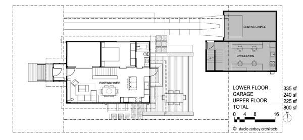 Lower Floor Plan Seattle DADU Detached accesory dwelling unit Studio Zerbey Architects