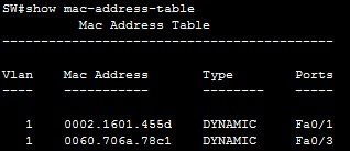 show mac address table