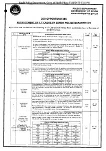 Sindh Police Department Information Technology Cadre PTS Jobs 2021 Application Form