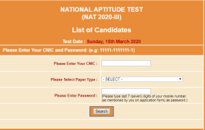 National Aptitude Test NAT III NTS Roll Number Slip 2020
